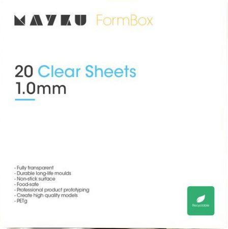 Mayku áttetsző (clear) formázó lemezcsomag (20 db, 1 mm vastag; foodsafe PETG)